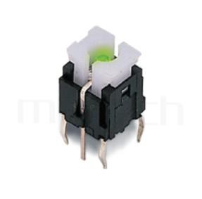PB-520 系列-輕觸帶燈開關Illuminated Switch ,無鍵帽,立式,DIP ,7PIN,layout 5.08,5.4 ,尺寸 6x6,版上高度9.5mm ,5.8x4.5 按鍵面,双色雙色輕觸開關LED tact switch,紅藍雙色LED,紅綠雙色LED,輕觸LED按鈕