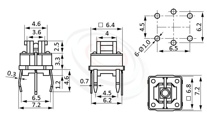 PB-572系列 尺寸圖 帶燈開關 Illuminated Pushbuttons ,4x4.6 按鍵面 ,尺寸 6.8x6.8,版上高度7mm ,無鍵帽,立式,DIP ,6PIN