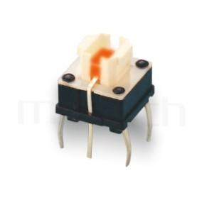 PB-572 系列-帶燈按鈕開關LED Pushbutton Switch ,無鍵帽,立式,DIP ,6PIN ,尺寸 6.8x6.8,版上高度7mm ,4x4.6 按鍵面