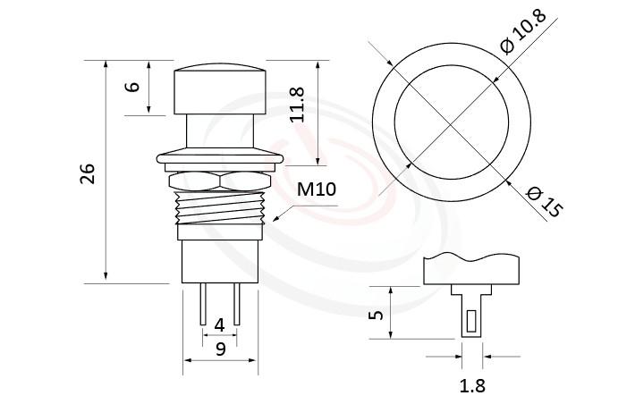 PS-001系列 尺寸圖, 尺寸: 總長度31mm,按鈕開關Push Button Switch ,OFF-(ON),SPST,1P1T迴路,總長度31mm ,圓形, 螺母固定 ,復歸/無鎖/回彈/無段