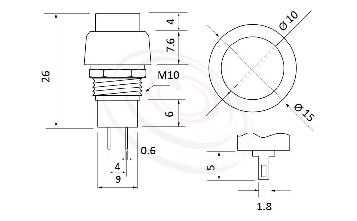 PS-002系列 尺寸圖, 尺寸: 總長度31mm,復歸按鈕開關Momentary Push button Switch,OFF-(ON),SPST,1P1T迴路,總長度31mm ,圓形, 螺母固定 ,復歸/無鎖/回彈/無段