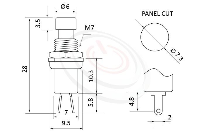 PS-003系列 尺寸圖, 尺寸: 總長度28mm,塑膠按鈕開關Push button ,OFF-(ON),SPST,1P1T迴路,總長度28mm ,圓形, 螺母固定 ,復歸/無鎖/回彈/無段