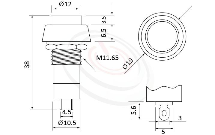PS-004系列 尺寸圖, 尺寸: 總長度38mm,按鈕開關Push Button Switch ,OFF-(ON),SPST,1P1T迴路,總長度38mm ,圓形, 螺母固定 ,復歸/無鎖/回彈/無段