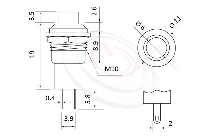 PS-005系列 尺寸圖, 尺寸: 總長度23mm,塑膠按鈕開關Push button ,OFF-(ON),SPST,1P1T迴路,總長度23mm ,圓形, 螺母固定 ,復歸/無鎖/回彈/無段