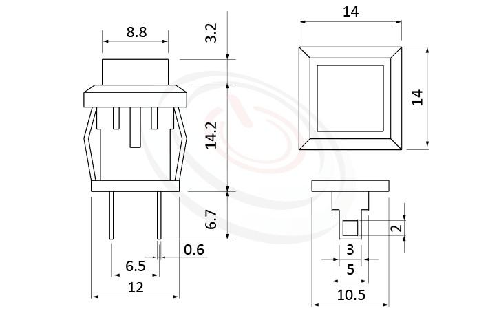 PS-101系列 尺寸圖, 尺寸: 總長度24mm,按鍵開關Push Switch ,OFF-(ON),SPST,1P1T迴路,總長度24mm ,方形,卡式,焊線 ,復歸/無鎖/回彈/無段