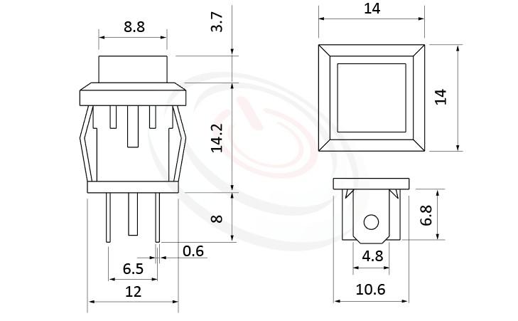 PS-102系列 尺寸圖, 尺寸: 總長度26mm,按鈕開關Push Button Switch ,OFF-(ON),SPST,1P1T迴路,總長度26mm ,方形,卡式,焊線 ,復歸/無鎖/回彈/無段
