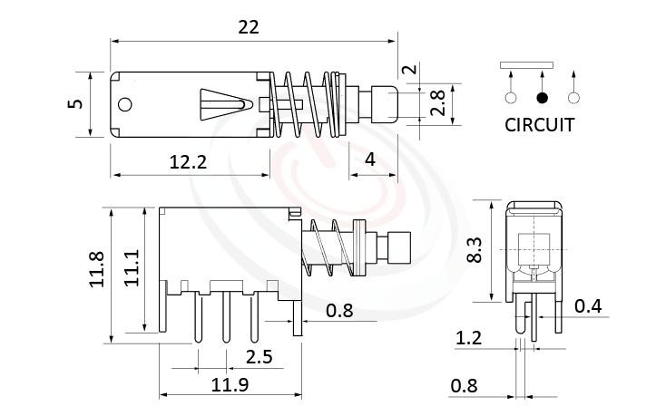PS-12E05系列 尺寸圖, 尺寸: 總長度22, 版上高度8.3mm,按鍵開關Push Switch ,SPDT,1P2T迴路,總長度22, 版上高度8.3mm ,90度側按側押,DIP插版 ,電源開關,水平臥式,自鎖/無鎖,有段/無段