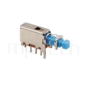 PS-12E05 系列-按鍵開關Push Switch,90度側按,DIP插版,電源開關,水平臥式,自鎖/無鎖,有段/無段 ,SPDT,1P2T迴路 ,總長度22, 版上高度8.3mm
