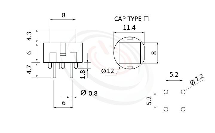 PS-201系列 尺寸圖, 尺寸: 版上高度10mm,按鈕開關Push Switch ,OFF-(ON),SPST,1P1T迴路,版上高度10mm ,方形,DIP PCB插版 ,小型按鈕,復歸/無鎖/回彈/無段