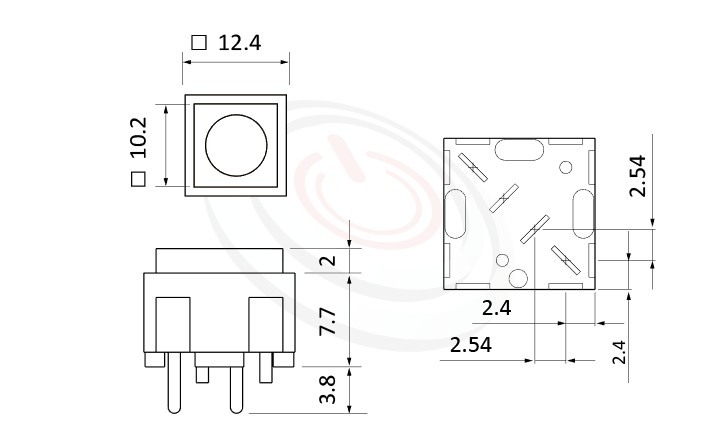 PS-203系列 尺寸圖, 尺寸: 12x12 版上高度10mm,按鈕開關Push button Switch,OFF-(ON),SPST,1P1T迴路,12x12 版上高度10mm ,方形,DIP PCB插版 ,小型按鈕,復歸/無鎖/回彈/無段
