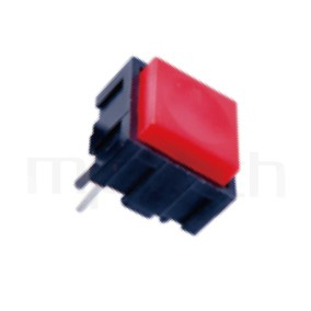 PS-203 系列-按鈕開關Push button Switch,方形,DIP插版,小型按鈕,復歸/無鎖/回彈/無段 ,OFF-(ON),SPST,1P1T迴路 ,12x12 版上高度10mm