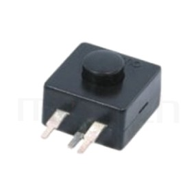 PS-204 系列-按鈕開關Push Switch ,圓形按柄,方形本體,DIP插版,手電筒電源開關,多段多檔 ,ON-OFF-ON-OFF迴路 ,12x12 版上高度9mm