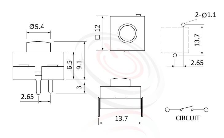 PS-212系列 尺寸圖, 尺寸: 12x12 版上高度9mm,按鈕開關Push button Switch,ON-OFF 循環迴路,12x12 版上高度9mm ,圓形按柄,方形本體,DIP插版 ,手電筒電源開關,多段多檔