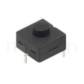 PS-212 系列-按鍵開關Push Switch ,圓形按柄,方形本體,DIP插版,手電筒電源開關,多段多檔 ,ON-OFF 循環迴路 ,12x12 版上高度9mm
