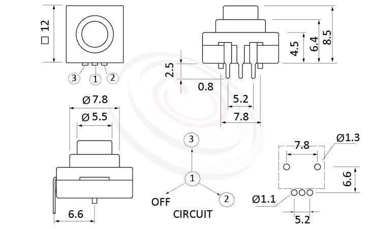 PS-213系列 尺寸圖, 尺寸: 12x12 版上高度9mm,復歸按鈕開關Momentary Push button Switch,ON-ON-OFF 循環迴路,12x12 版上高度9mm ,圓形按柄,方形本體,DIP插版 ,手電筒電源開關,多段多檔