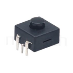 PS-213 系列-塑膠按鈕開關Push button ,圓形按柄,方形本體,DIP插版,手電筒電源開關,多段多檔 ,ON-ON-OFF 循環迴路 ,12x12 版上高度9mm