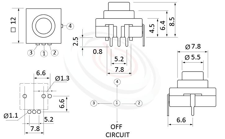 PS-214系列 尺寸圖, 尺寸: 12x12 版上高度9mm,按鈕開關Push Button Switch ,ON-ON-ON-OFF 循環迴路,12x12 版上高度9mm ,圓形按柄,方形本體,DIP插版 ,手電筒電源開關,多段多檔