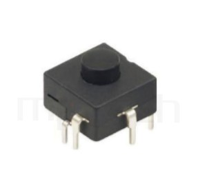 PS-214 系列-按鈕開關Push Switch ,圓形按柄,方形本體,DIP插版,手電筒電源開關,多段多檔 ,ON-ON-ON-OFF 循環迴路 ,12x12 版上高度9mm