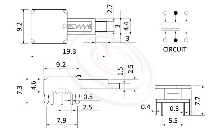 PS-22E02系列 尺寸圖, 尺寸: 總長度19, 版上高度5mm, 極低高度,low profile,按鍵開關Push Switch ,DPDT,2P2T迴路,總長度19, 版上高度5mm ,90度側按,DIP插版 ,電源開關,水平臥式,自鎖/無鎖,有段/無段