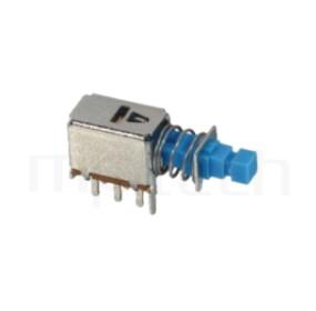 PS-22E05 系列-按鍵開關Push Switch ,90度側按,DIP插版,電源開關,水平臥式,自鎖/無鎖,有段/無段 ,DPDT,2P2T迴路 ,總長度22, 版上高度8.3mm
