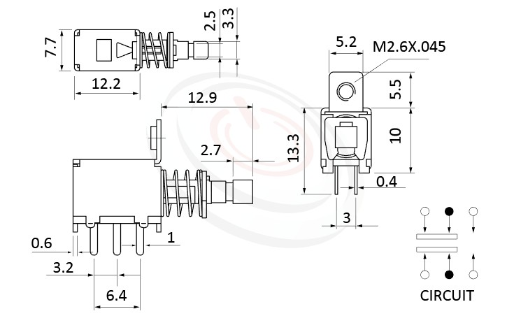 PS-22F05系列 尺寸圖, 尺寸: 總長度25, 版上高度15mm,按鍵開關Push Switch ,DPDT,2P2T迴路,總長度25, 版上高度15mm ,90度側按,DIP插版,螺絲固定孔 ,電源開關,水平臥式,自鎖/無鎖,有段/無段