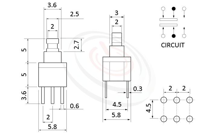 PS-258系列 尺寸圖, 尺寸: 5.8x5.8 版上高度10mm,塑膠按鈕開關Push button ,DPDT,2P2T迴路,5.8x5.8 版上高度10mm ,方形,DIP插版 ,電源開關,垂直立式,自鎖/無鎖,有段/無段