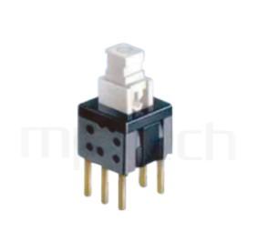 PS-258 系列-自鎖按鈕開關Push button ,方形,DIP插版,電源開關,垂直立式,自鎖/無鎖,有段/無段 ,DPDT,2P2T迴路 ,5.8x5.8 版上高度10mm