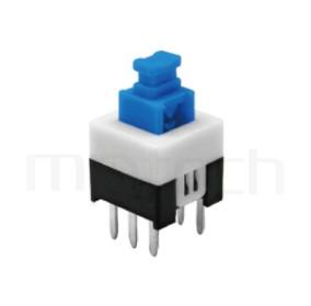 PS-277 系列-按鈕開關Push Switch ,方形,DIP插版,電源開關,垂直立式,自鎖/無鎖,有段/無段 ,DPDT,2P2T迴路 ,7x7 版上高度12.5mm