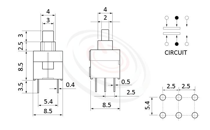 PS-285系列 尺寸圖, 尺寸: 8.5x8.5 版上高度14mm,按鈕開關Push Switch ,DPDT,2P2T迴路,8.5x8.5 版上高度14mm ,方形,DIP插版 ,電源開關,垂直立式,自鎖/無鎖,有段/無段