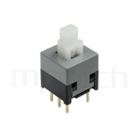 PS-285 系列-自鎖按鈕開關Lock Push button Switch,方形,DIP插版,電源開關,垂直立式,自鎖/無鎖,有段/無段 ,DPDT,2P2T迴路 ,8.5x8.5 版上高度14mm