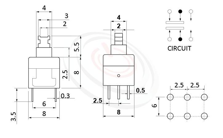PS-288系列 尺寸圖, 尺寸: 8x8 版上高度13.5mm,按鍵開關Push Switch ,DPDT,2P2T迴路,8x8 版上高度13.5mm ,方形,DIP插版 ,電源開關,垂直立式,自鎖/無鎖,有段/無段