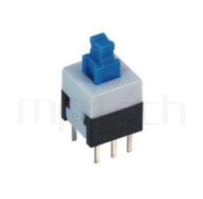 PS-288 系列-按鈕開關Push button Switch,方形,DIP插版,電源開關,垂直立式,自鎖/無鎖,有段/無段 ,DPDT,2P2T迴路 ,8x8 版上高度13.5mm