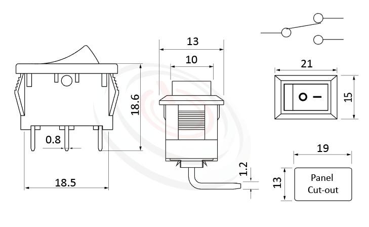 RS-601-10231NBB 尺寸圖, 面板尺寸21x15mm,90度彎腳,翹板開關Rocker Switch ,6A 250VAC, 10A 125VAC,ON-ON ,SPDT,1P2T