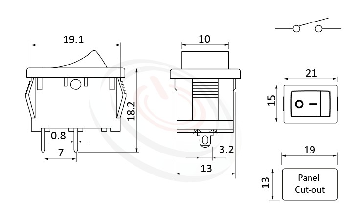 RS-601A-10121NBB 尺寸圖, 面板尺寸21x15mm,船型開關Rocker Switch ,6A 250VAC, 10A 125VAC,ON-OFF ,SPST,1P1T