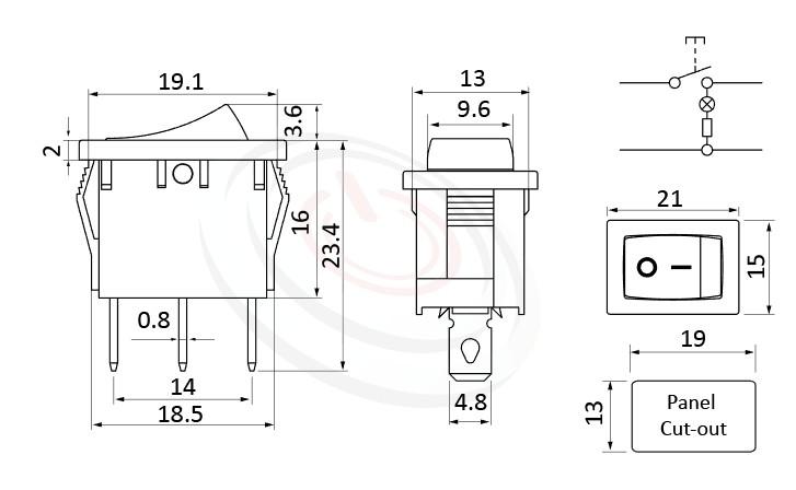 RS-601B-10111LRB 尺寸圖, 面板尺寸21x15mm,翹板開關Rocker Switch ,6A 250VAC, 10A 125VAC,ON-OFF ,SPST,1P1T