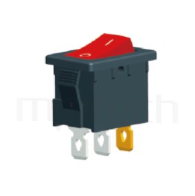 RS-601B-10111LRB 系列-洛克開關Rocker Switch ,21x15mm ,帶燈 ,6A 250VAC, 10A 125VAC,ON-OFF ,SPST,1P1T迴路