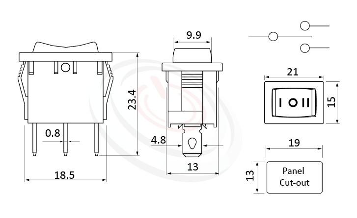 RS-601B-10314NBB 尺寸圖, 面板尺寸21x15mm,洛克開關Rocker Switch ,6A 250VAC, 10A 125VAC,ON-OFF-ON ,SPDT,1P2T