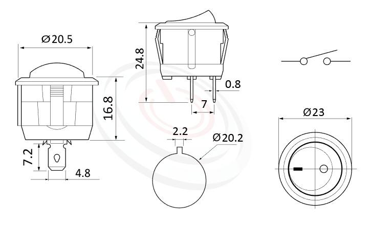 RS-601C-10111NBB 尺寸圖, 面板尺寸23mm,圓形翹板開關Rocker Switch ,6A 250VAC, 10A 125VAC,ON-OFF ,SPST,1P1T
