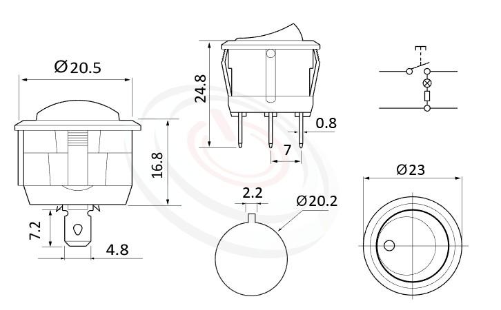 RS-601C-10116LBB 尺寸圖, 面板尺寸23mm,圓形翹板開關,洛克開關Rocker Switch ,6A 250VAC, 10A 125VAC,ON-OFF ,SPST,1P1T