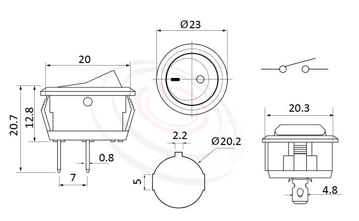 RS-601C2-10111NBB 尺寸圖, 面板尺寸23mm,圓形船型開關Rocker Switch ,6A 250VAC, 10A 125VAC,ON-OFF ,SPST,1P1T