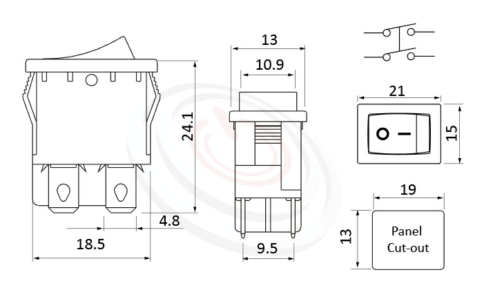 RS-601D-20111NBB 尺寸圖, 面板尺寸21x15mm,翹板開關Rocker Switch ,6A 250VAC, 10A 125VAC,ON-OFF ,DPST,2P1T