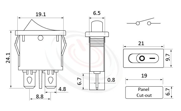 RS-601D1-10111NBB 尺寸圖, 面板尺寸21x10mm,洛克開關Rocker Switch ,6A 250VAC, 10A 125VAC,ON-OFF ,SPST,1P1T
