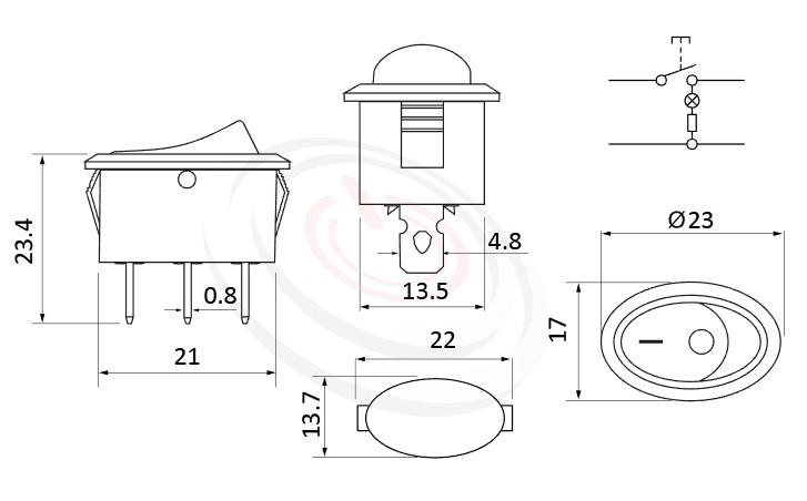RS-601E-10111LRB 尺寸圖, 面板尺寸23x17mm,橢圓型翹板,洛克開關Rocker Switch ,6A 250VAC, 10A 125VAC,ON-OFF ,SPST,1P1T