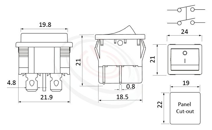 RS-601F-20111NBB 尺寸圖, 面板尺寸24x21mm,翹板開關Rocker Switch ,6A 250VAC, 10A 125VAC,ON-OFF ,DPST,2P1T