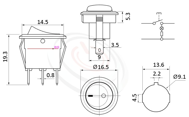 RS-601H2-10111LRB 尺寸圖, 面板尺寸16.5mm,圓形翹板開關帶燈Rocker Switch ,3A 250VAC, 6A 125VAC,ON-OFF ,SPST,1P1T