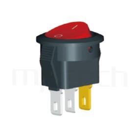RS-601H2-10111LRB 系列-翹板開關Rocker Switch ,16.5mm ,帶燈圓形 ,3A 250VAC, 6A 125VAC,ON-OFF ,SPST,1P1T迴路