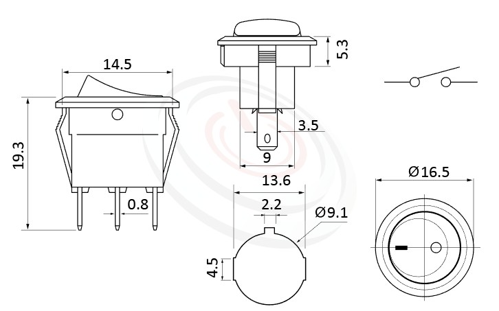 RS-601H2-10161NBB 尺寸圖, 面板尺寸16.5mm,圓形翹板,圓型船型開關Rocker Switch ,3A 250VAC, 6A 125VAC,ON-OFF ,SPST,1P1T