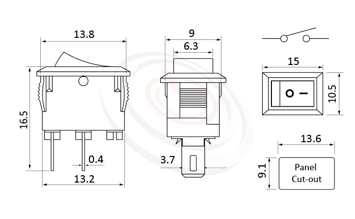 RS-601HL-10111NBB 尺寸圖, 面板尺寸15x10mm,洛克開關Rocker Switch ,3A 250VAC, 6A 125VAC,ON-OFF ,SPST,1P1T