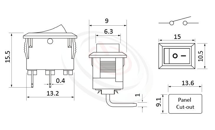 RS-601HL-10131NBB 尺寸圖, 面板尺寸15x10mm,90度彎腳,洛克開關Rocker Switch ,3A 250VAC, 6A 125VAC,ON-OFF ,SPST,1P1T
