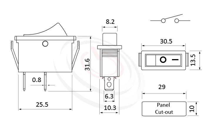RS-606-10111NBB 尺寸圖, 面板尺寸30x13mm,洛克開關Rocker Switch ,16A 250VAC,ON-OFF ,SPST,1P1T